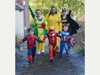 Children in Need at the Tiny Toez nursery at Westfield Children's Centre, Buccleuch Road, Normacot. Chilidren and staff were dressing as super heroes and travelling to Longton d to collect donations for Children in Need Quote from Nursery Nurse Heather Hird is the kids have been taking part in a week long fun project and today as part of the project we are getting the bus into Longton Town Centre dredssed as superheroes colledcting for Children In Need. The kids are loving this activity and arer excited about getting the bus, and are looking forward to raising lots of money. Pictured left to right are Nujrsery Nurses Heather Hird, Zarina Wijemanne and Becky Butler with left to right pupils Mason Richards 3 yrs, Rizwaan Hussain 3 yrs and Charlie Edge 3 yrs.